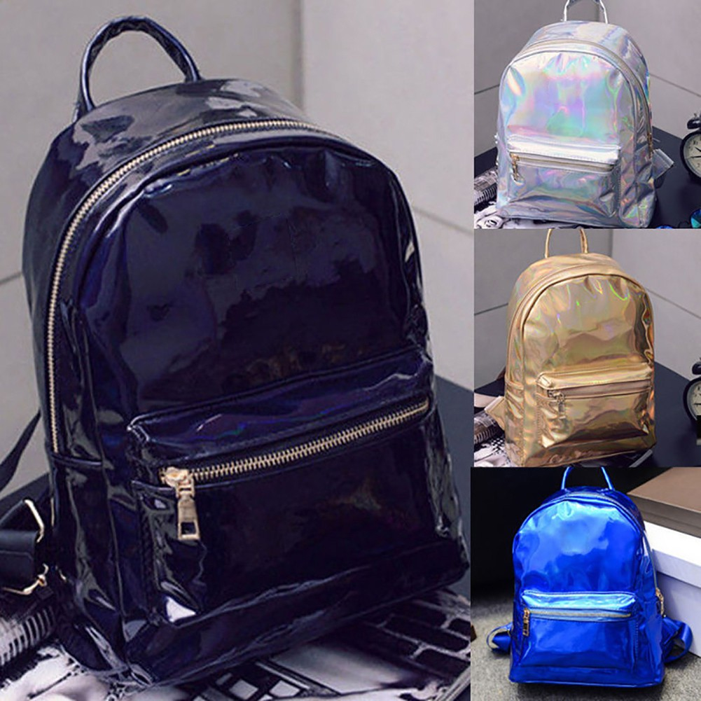 cbf696791b Women Fashion Faux Leather Zipper Reflective Backpack Travel Shoulder  School Bag