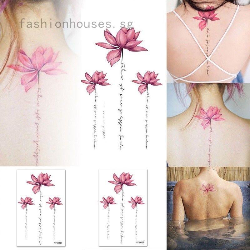 New Lotus Flower Temporary Tattoos Stickers Body Art 3d Lotus Tatoo Waterproof Shopee Singapore