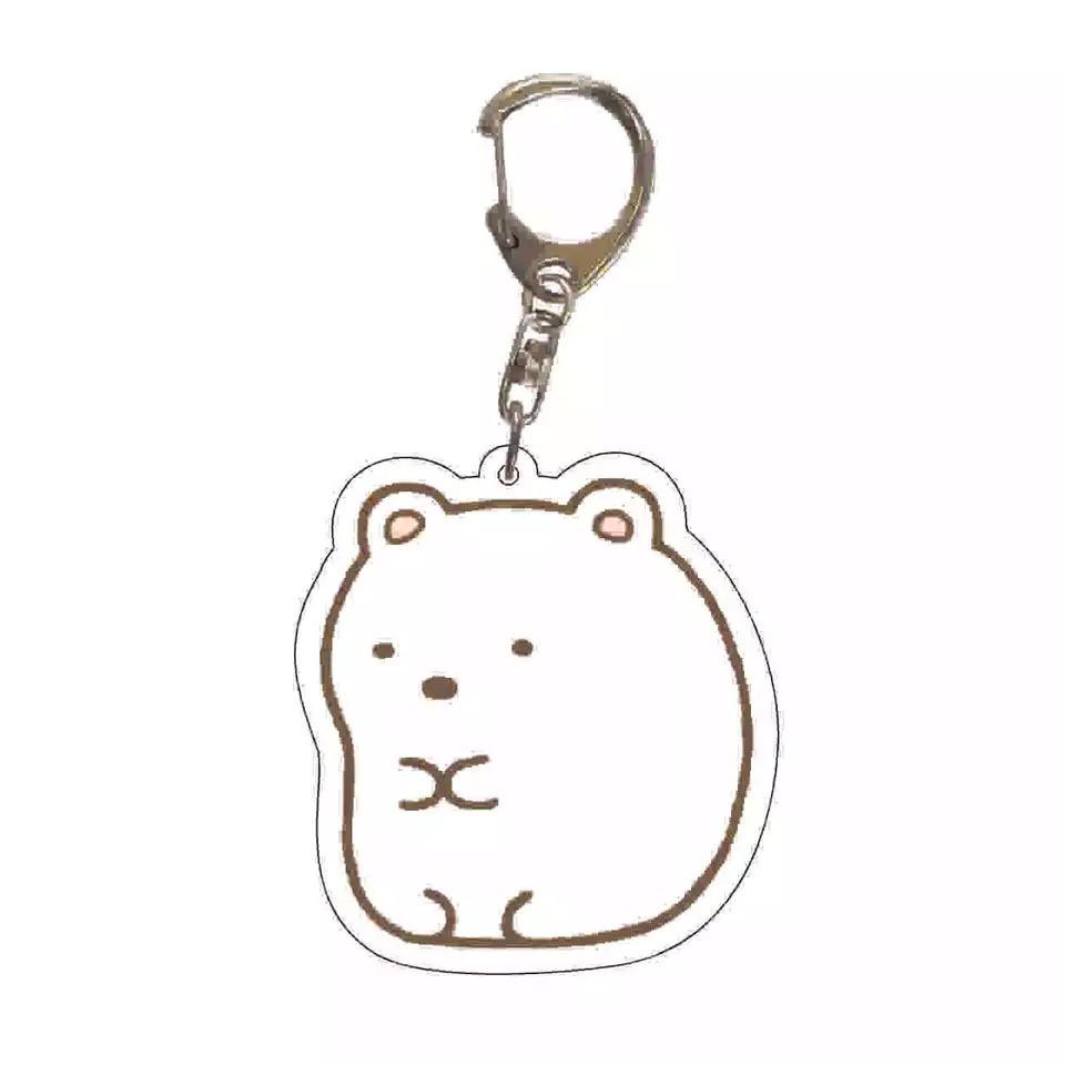 Anime Sumikko Gurashi Keychain Cute Animal Sumikko Gurashi Double Sided Transparent Acrylic Pendent Keychain