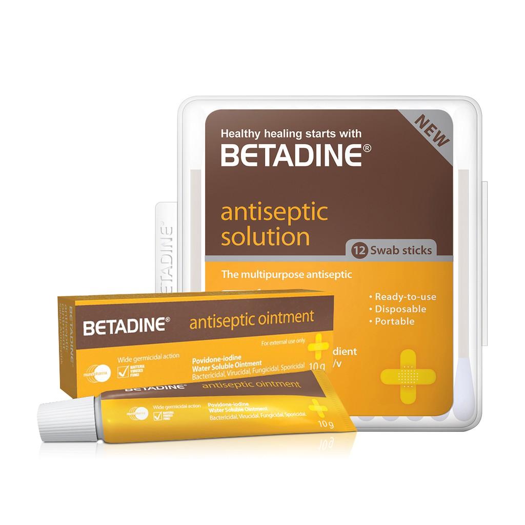 Betadine Ointment 10g + Betadine Antiseptic Swab Sticks 12's
