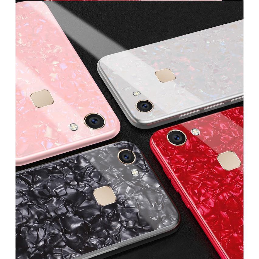 VIVO Y71 Y75 Y79 Y67 Y97 Seashell Texture Tempered Glass Hard Case