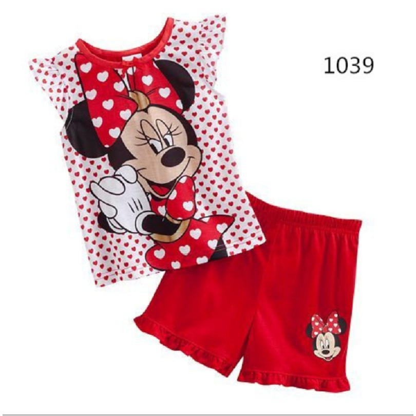 Cute Toddler Kids Girls Clothes Cartoon Minnie Mouse Tops Pants Outfits 2Pcs Set