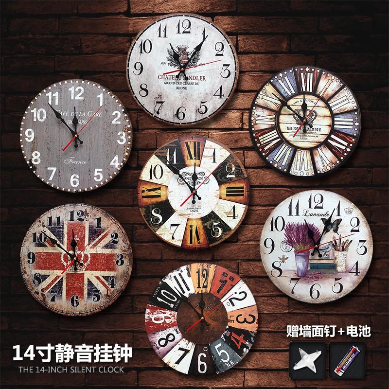 Vintage Silent Wall Clocks Living Room Bedroom Wall Clock Shopee