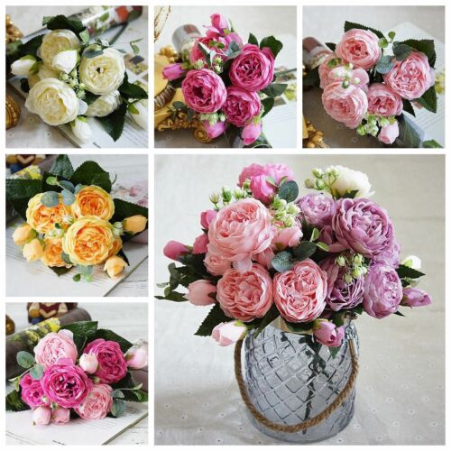 Rose Peony Artificial Flowers Bouquet 5 Big Head Cheap Fake Flowers For Home Wedding Decor Indoor Shopee Singapore