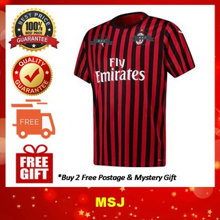low cost 75ca9 ebbf3 Ready Stock) 2019/20 AC Milan Home Kit Jersey for Men (FREE ...