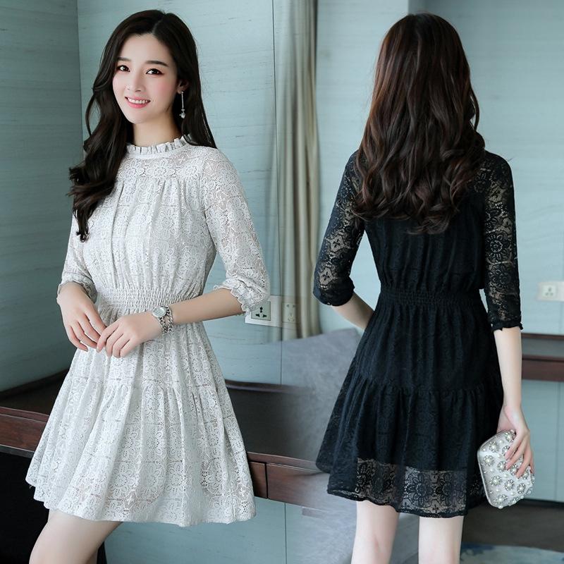 Korean Style Loose Mid Long Sleeve Dress O Neck Women Lace Dress