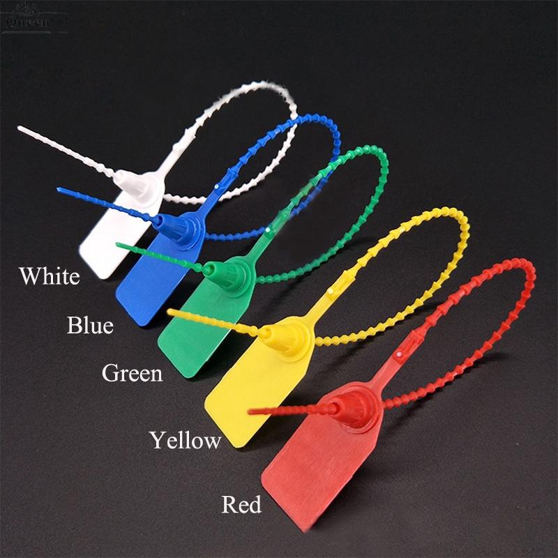 100 X WHITE SECURITY TAGS NUMBERED PULL TIES SECURE ANTI-TAMPER SEALS