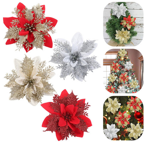 Artificial Silk Flower Stick Christmas Glitter Poinsettia Christmas Tree Ornament For Christmas Tree Garland Holiday Decoration Home Decoration Shopee Singapore