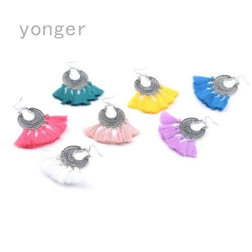 640d375d0d0a1 Multi-color Alloy Earrings Women Long Tassel Fringe Boho Dangle Earrings  Jewelry