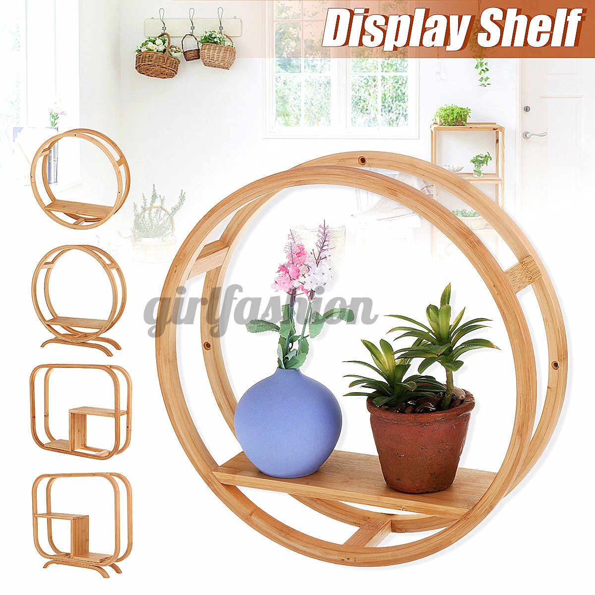 Wooden Round Square Wall Shelf Unique Home Decor Shabby Chic Circle Display Unit Nanzhu Xiaobo Ancient Frame Chinese Wall Shelves Desktop Frame Shopee Singapore