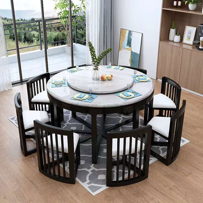 Large 8 Seater Marble Solid Wood Round, 8 Seater Round Table