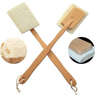 Bath Back Scrubber Durable Loofah Sponge Brush Body Wood Handles Natural