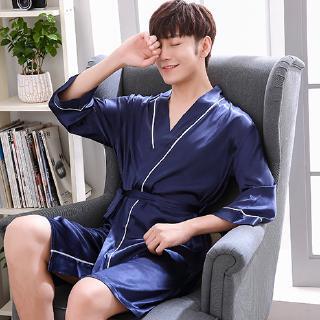 WUAI Mens Silky Sleepwear Pajamas Set Casual Comfortable Long Sleeved Button-Down Long Loungewear