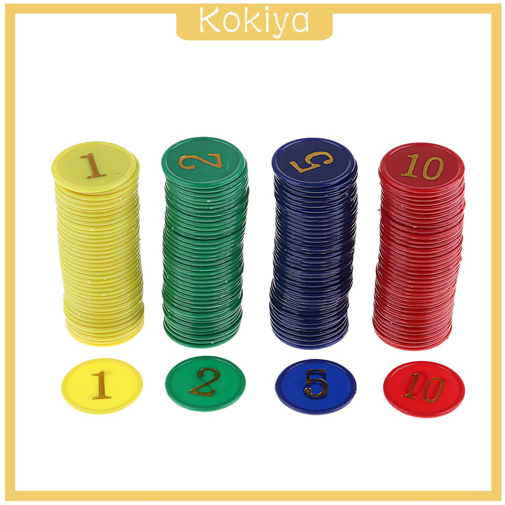 dailymall 160 Pieces Plastic Games Coins Casino Poker Chips Recreation Mahjong Money