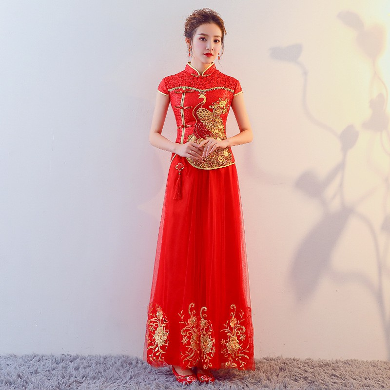 81e546d71 Toast cheongsam summer long Chinese bride married red evening dress |  Shopee Singapore