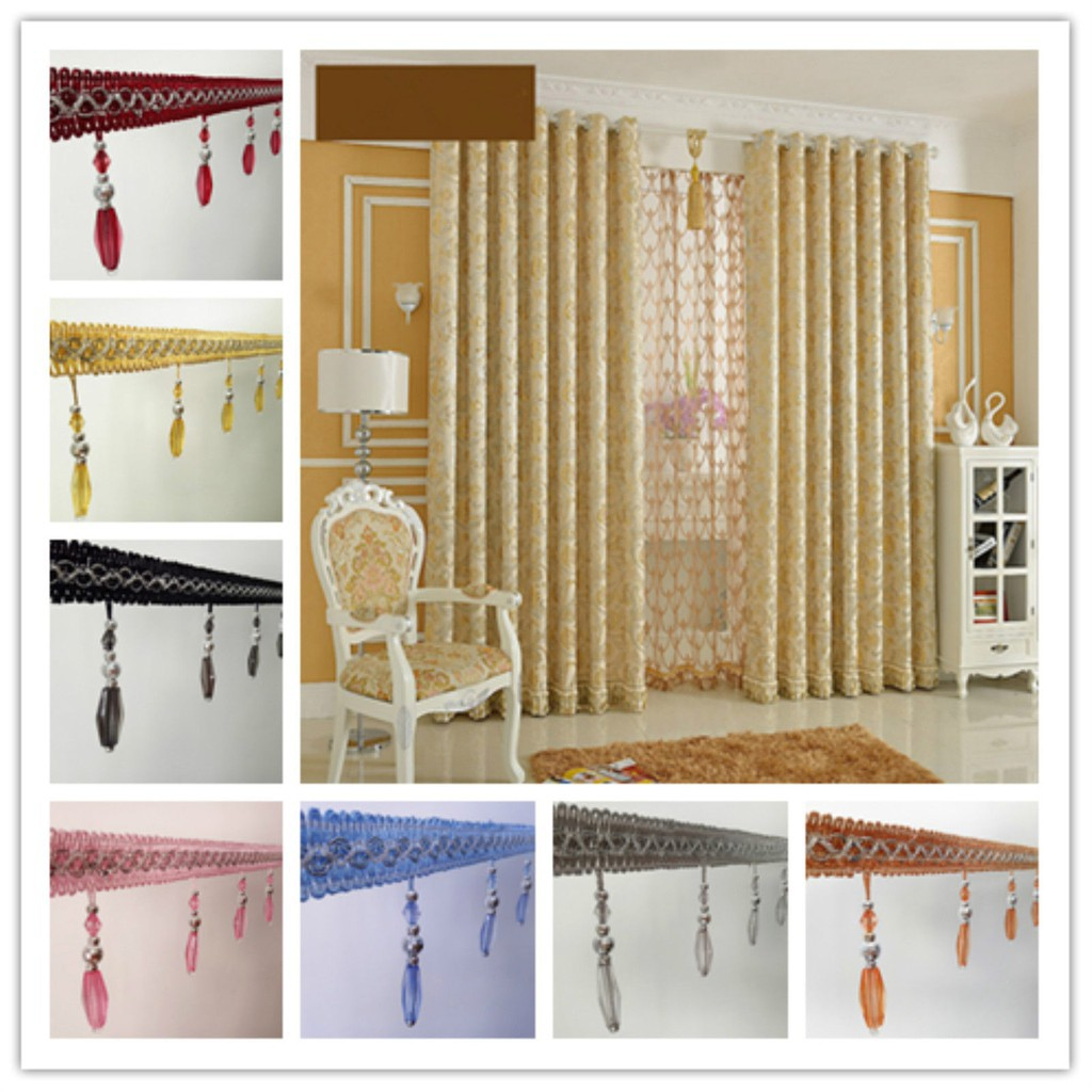 1m Curtain Sewing Tassel Fringe Trim Pendant Crystal Beads