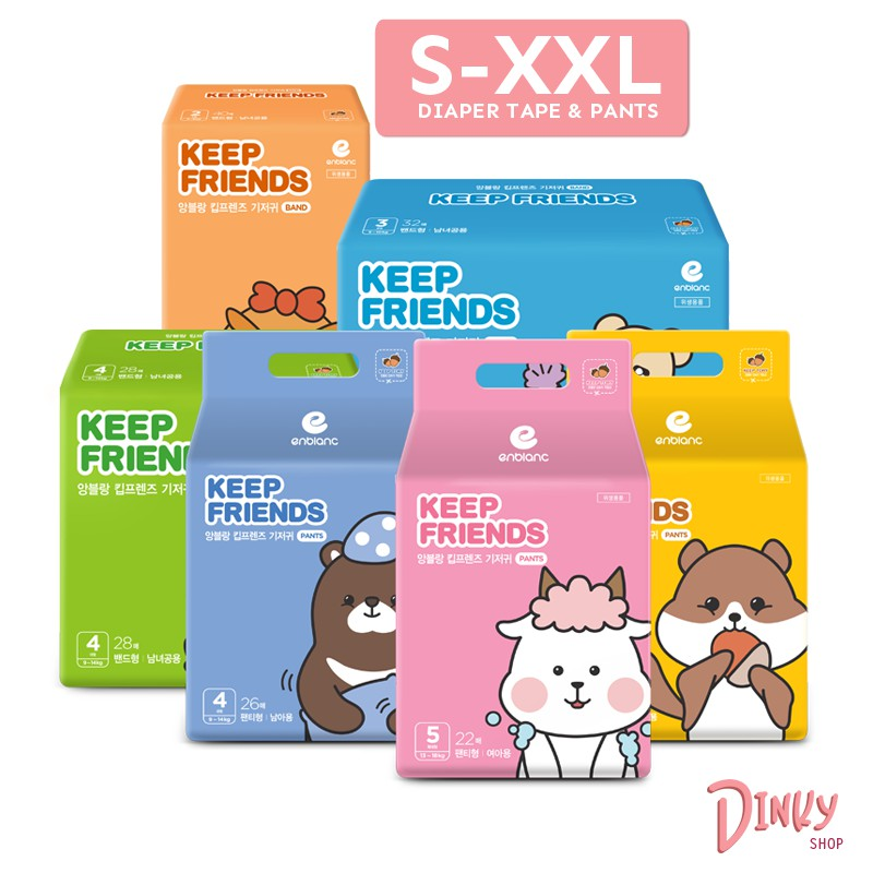 [BABY DIAPER CARTON] S - XXL taped and pants Keep Friends 앙블랑 | High Absorbency up to 1000ml & Soft comfy honeycomb