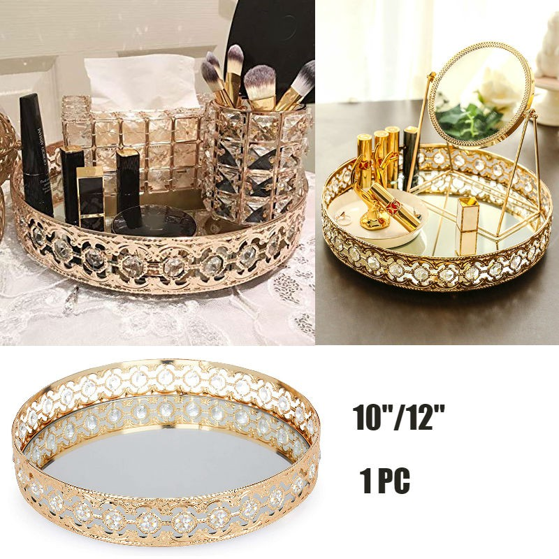 Gold Crystal Tray Glass Mirror Metal Mirrored Ornate Decorative Tray Jewelry Perfumes Cosmetics Display Organizer Shopee Singapore