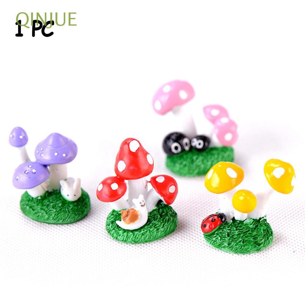 Cute Miniature Shy Mushroom Fairy Garden Moss Micro Landscape Bonsai Decor Craft for Decoration Pink