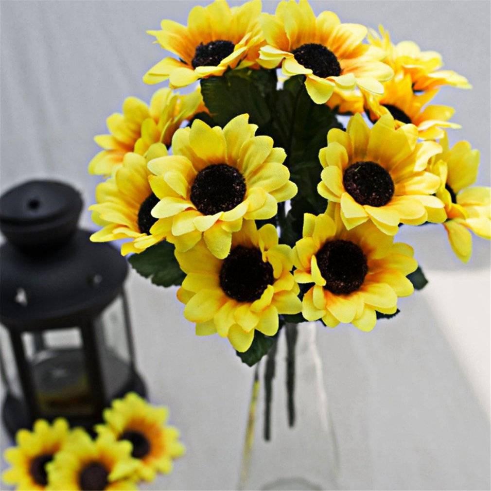 Seven Heads Beauty Fake Sunflower Artificial Silk Flower Bouquet Yellow Shopee Singapore