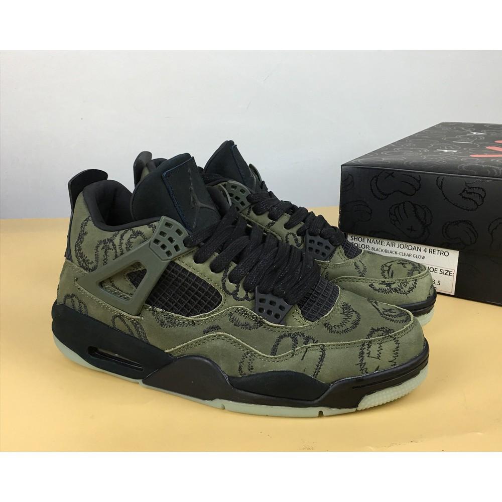 2dfa68222c33f2 Air Jordan 4 Retro Dark Grey Green Glow-cement Grey-blac