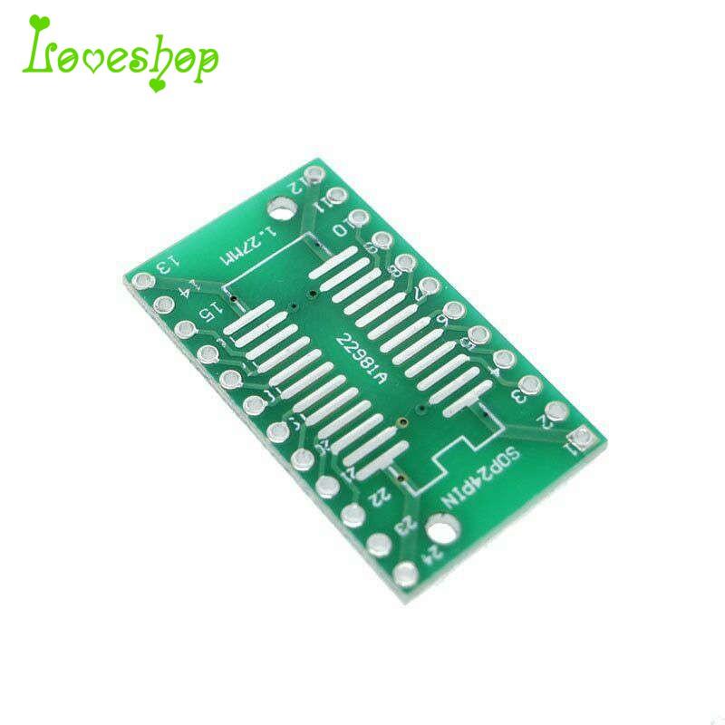 Smd Sop24 Ssop24 Tssop24 To Dip24 2 Sides Adapter Pcb Ic Converter Plate  20Pcs