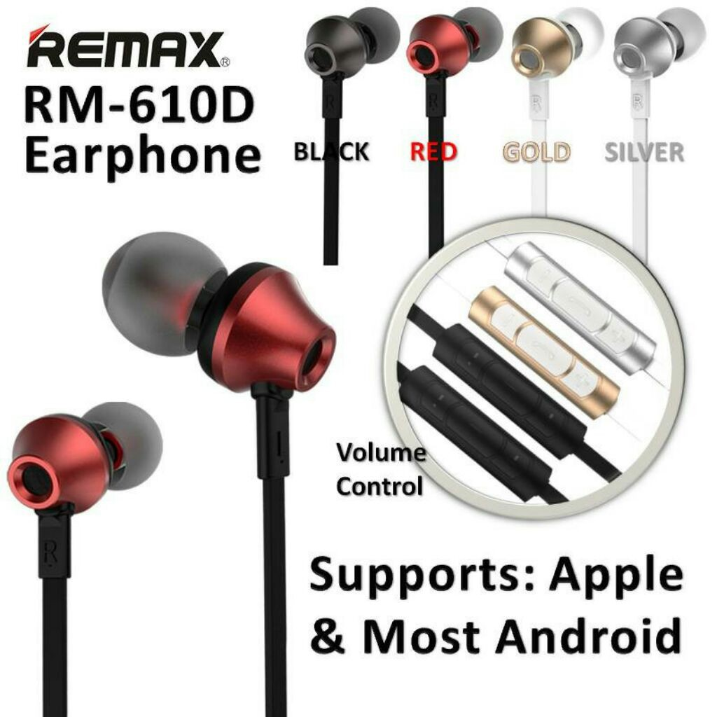 Remax 3 5mm In Ear Stereo Earphone With Microphone And Volume Handsfree Rm 305m Control Original Earphones