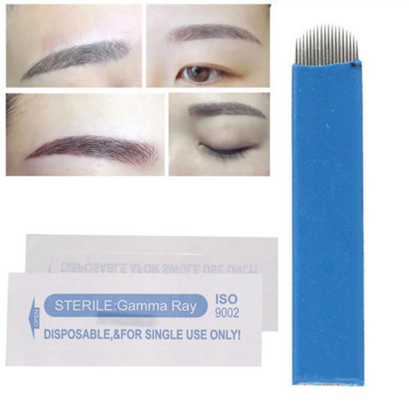 Symbol Of The Brand 100pcs Eyebrow Blades Shading Needles Tattoo Curved Manual 18u Pin Tattoo Needles, Grips & Tips