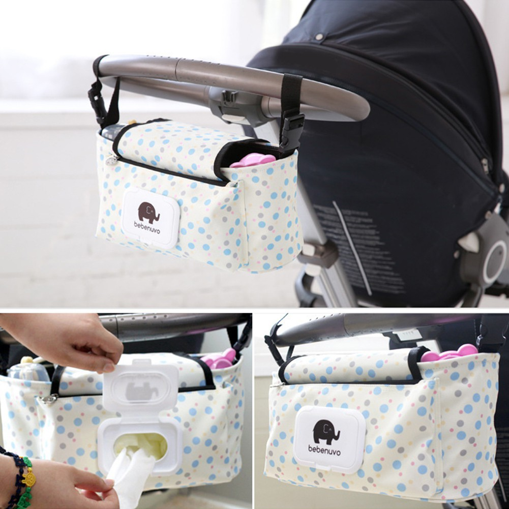 Universal Baby Trolley Storage Carriage Bag Stroller Buggy Pushchair Organizer Blue Diaper Storage Bag with Baby Wipes Dispenser