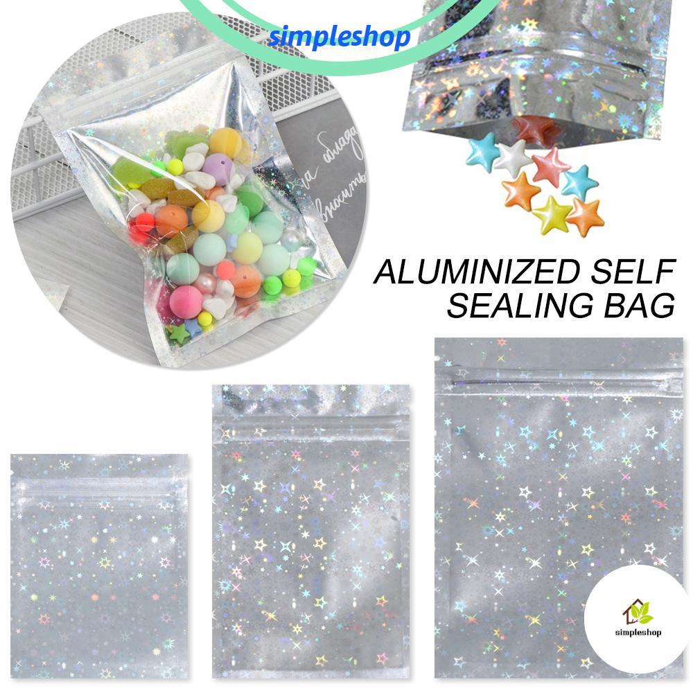 Star Laser Storage Bags Food Mylar Pouch Zipper Reclosable Pouches Plastic Bag