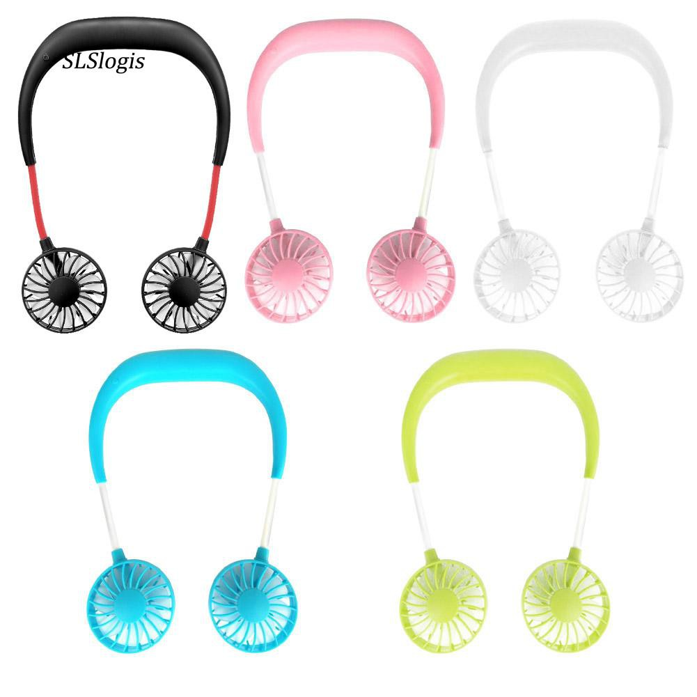 White Portable Hand Free Wearable Headphone Style USB Rechargeable Neckband Fan Cooler