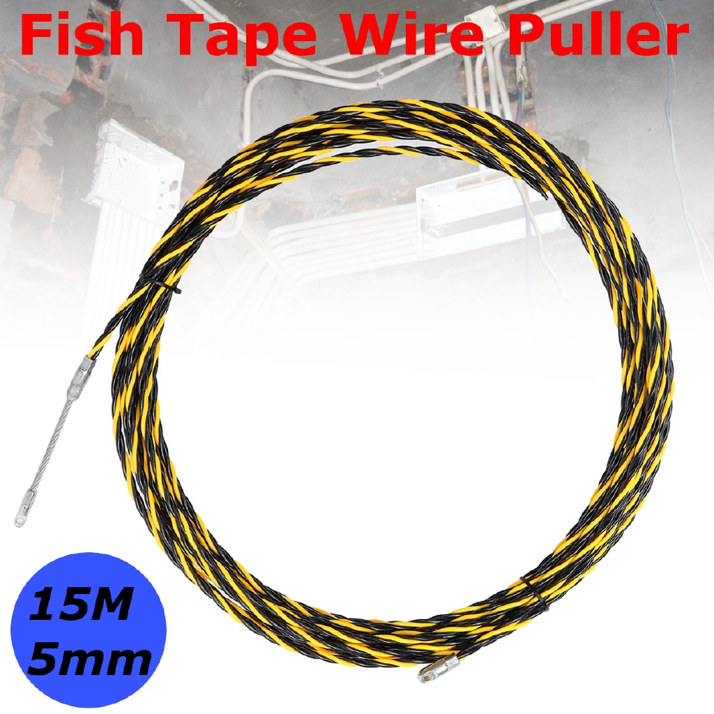 ►15M 5mm Cable Wire Puller Conduit Snake Fish Tape Cable Rodder on