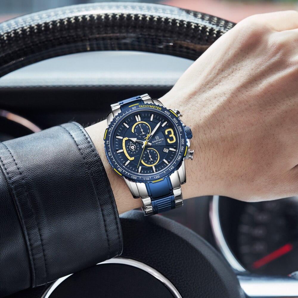 NAVIFORCE Men Watch Fashion Luxury Business Wristwatch Stainless Steel  Chronograph Sport Waterproof Watches | Shopee Singapore