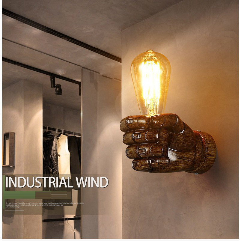 Creative Resin Fist Shaped Wall Lamp Aisle Bedside Sconce Home Cafe Wall Lights
