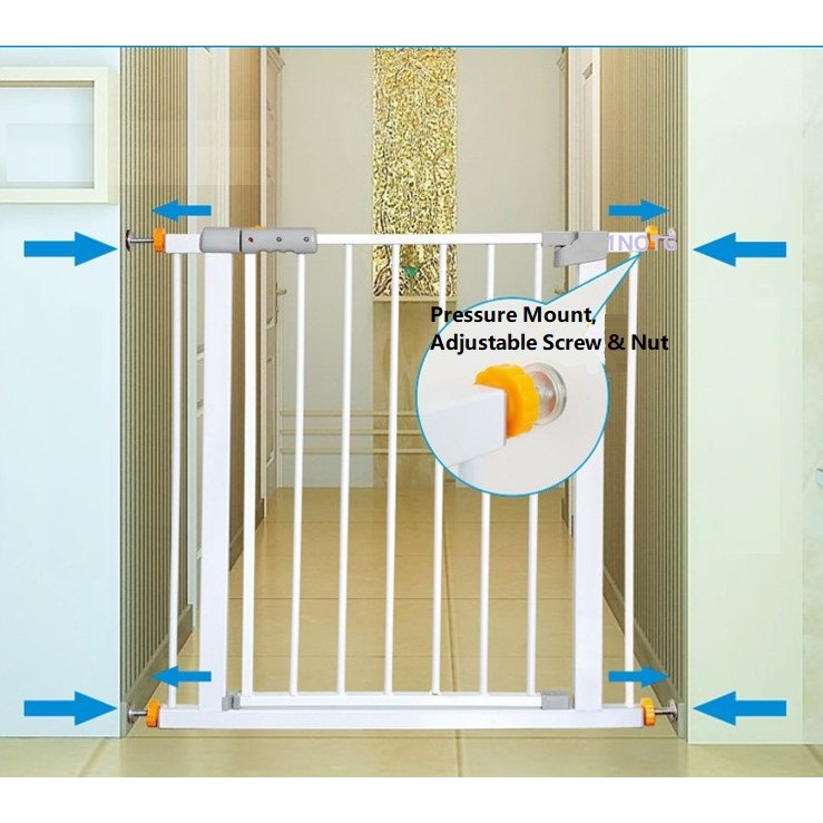 Safety Gate Baby/Pets Auto Swing Back Lock Stay Open Pressure Fit Mount |  Shopee Singapore