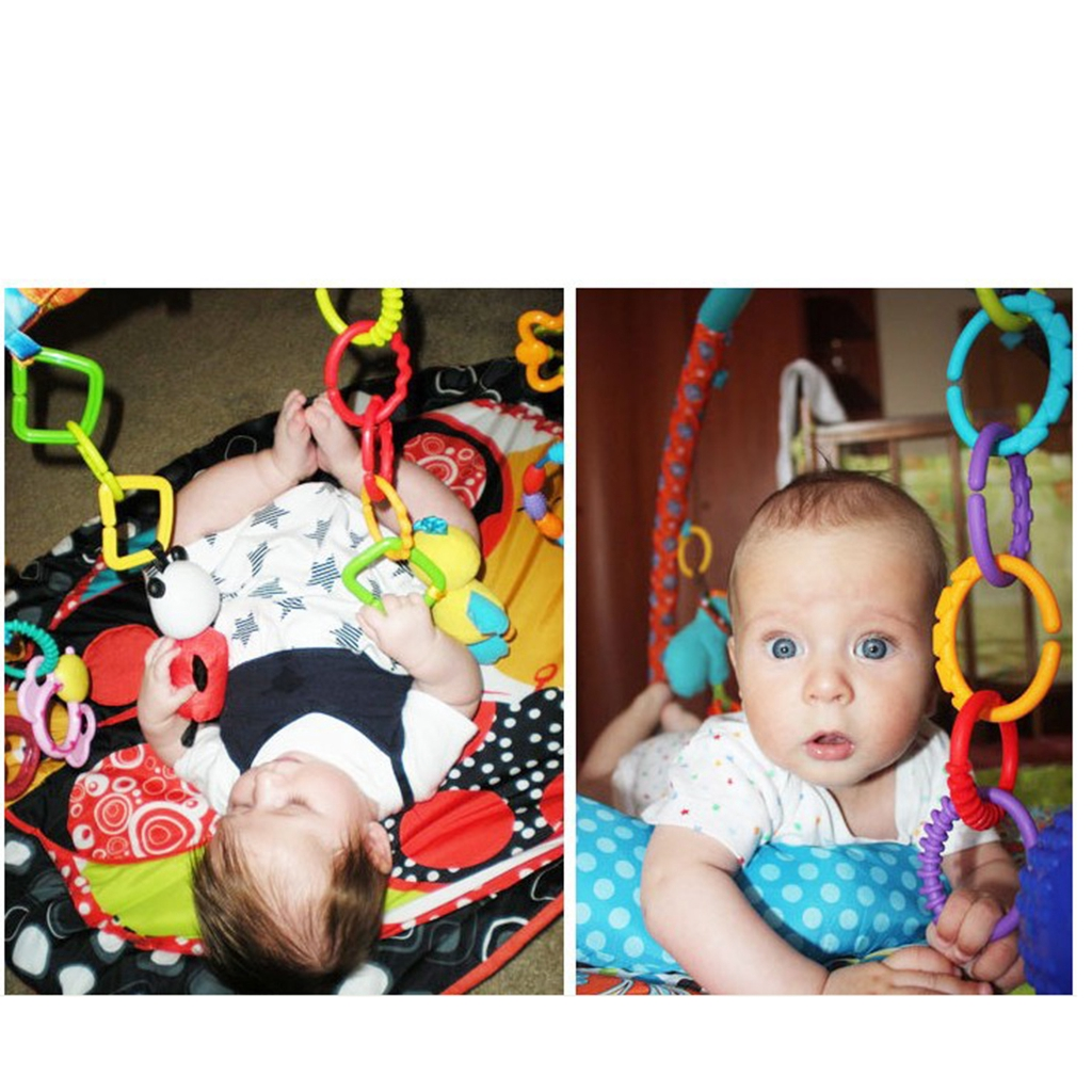 Rainbow Teether Ring Links Plastic Baby Kids Infant Stroller Gym Play Mat Toys