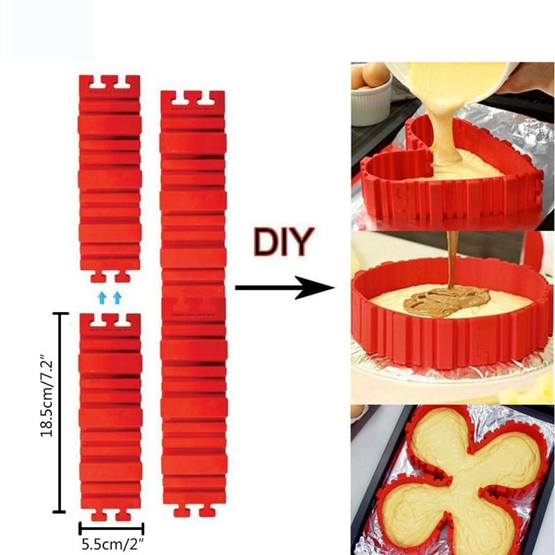 4x 3D Nonstick Silicone Cake heart Mold Magic Bake Snakes DIY Mould Baking Tools
