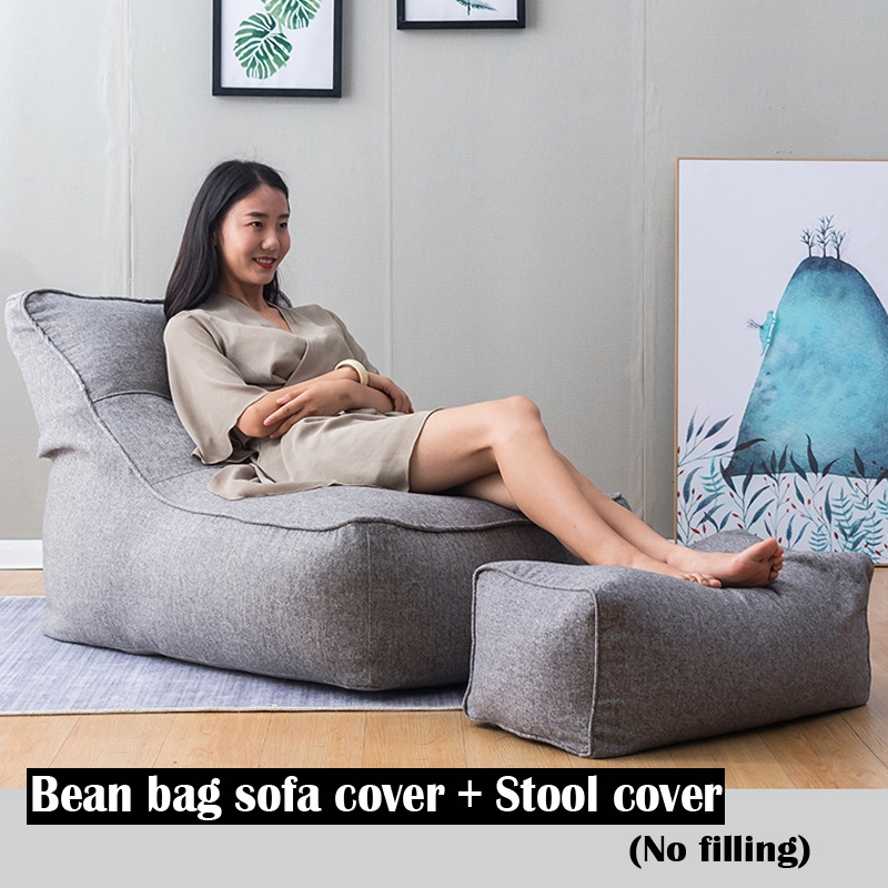 Phenomenal 2Pcs Set Combination Large Bean Bag Sofas Cover Chairs No Filler Indoor Lazy Ibusinesslaw Wood Chair Design Ideas Ibusinesslaworg