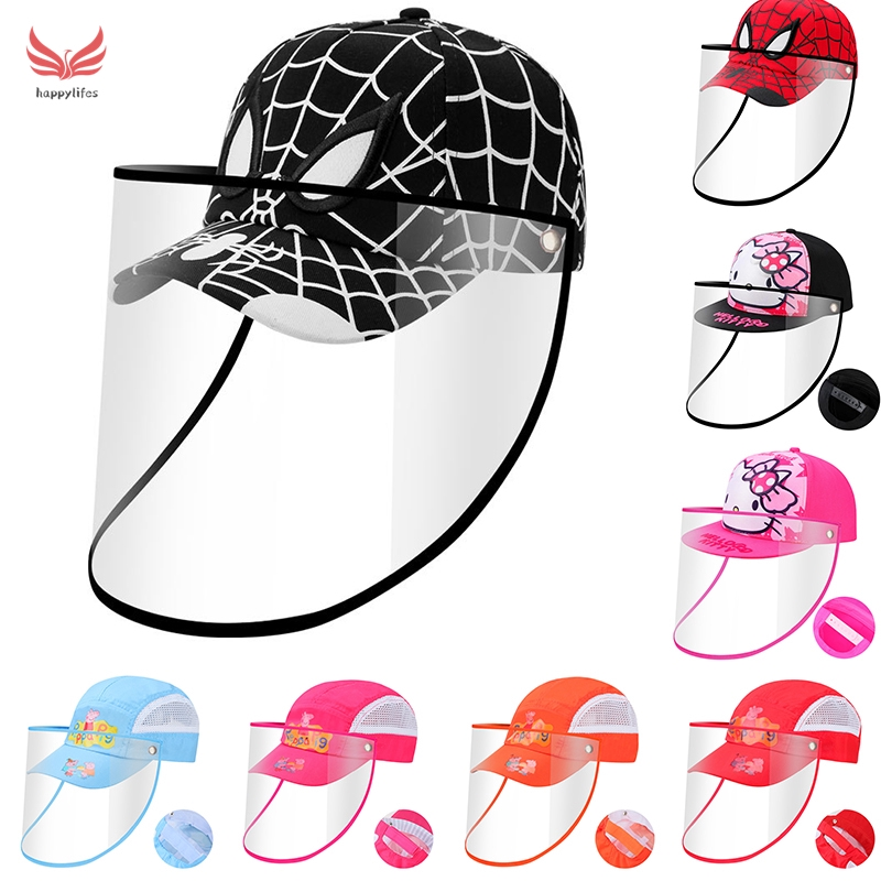 Kids Protective Face Shield Windproof Dustproof Baseball Hat with Removable,Anti-Saliva Outdoor Fisherman Cap for Children