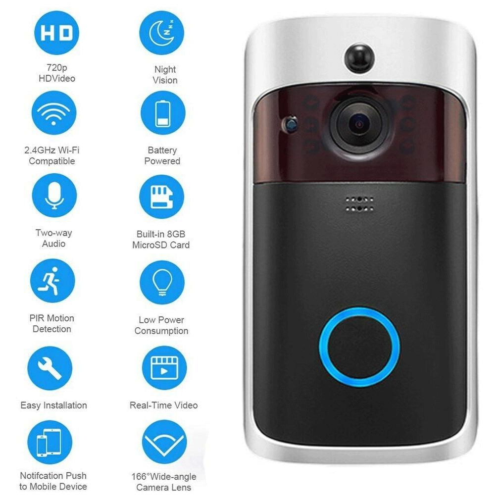 HGL♪Wireless Smart WiFi DoorBell IR Video Visual Ring Camera Intercom Home
