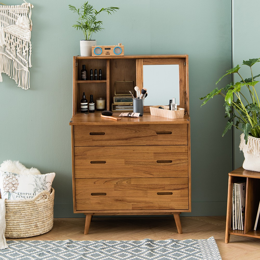 New Retro Chest Of 3 Drawers With Vanity Table Shopee Singapore