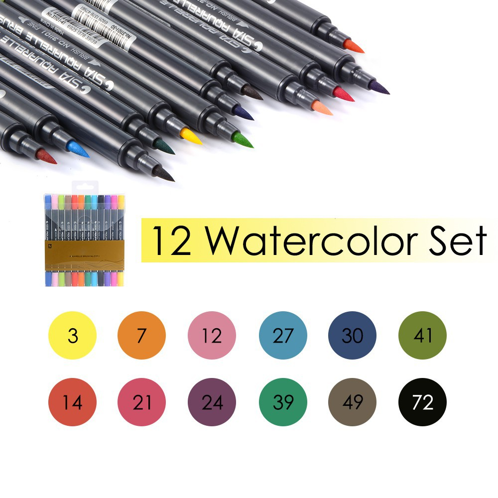 12-Color Watercolor Pen Set Dual Tip Aquarelle Drawing Painting Marker Art TH774