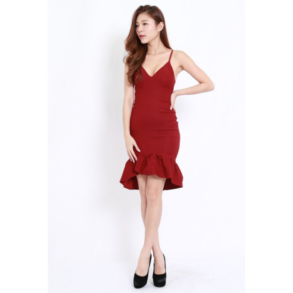 1607e7af4da1 Carrislabelle Mermaid Frill Midi Dress | Shopee Singapore