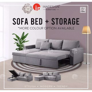 Image result for Multi Purpose 3 Seater Fabric Sofa Bed + Storage shopee.sg