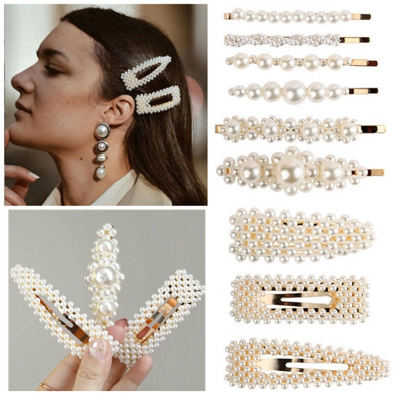 Women Pearl Diamond Hair Clip Bobby Pin Hairband Hairpin Barrette Comb Accessory