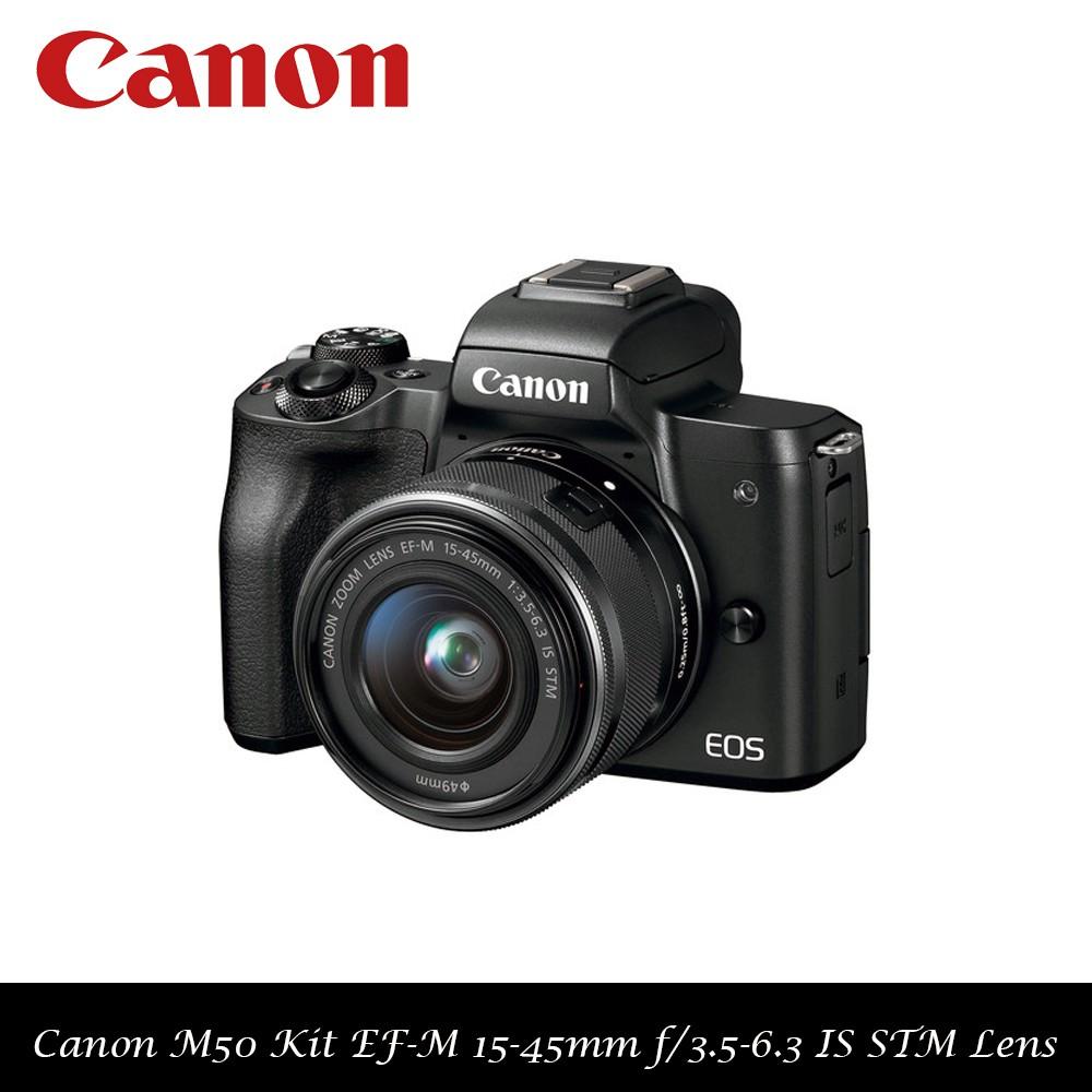 Canon Eos M50 Kit Ef M 15 45mm F 35 63 Is Stm Lens Black M3 M15 Kamera Mirrorless Shopee Singapore