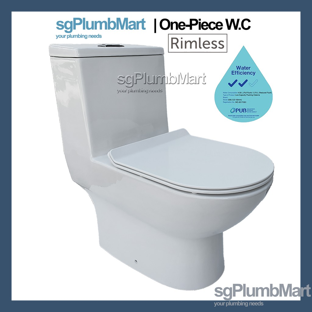 Picture of: Rimless 1 Piece Toilet Bowl One Piece Wc Model A Shopee Singapore