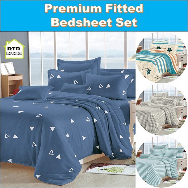 RTR Living - Premium Fitted Bedsheet Set with Pillow and Bolster Case  Printed RTRLiving | Shopee Singapore