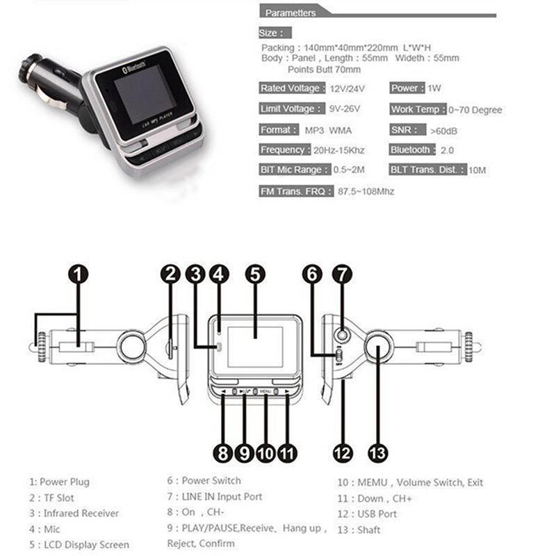Car Kit MP3 Music Player & USB Charger Wireless Bluetooth FM