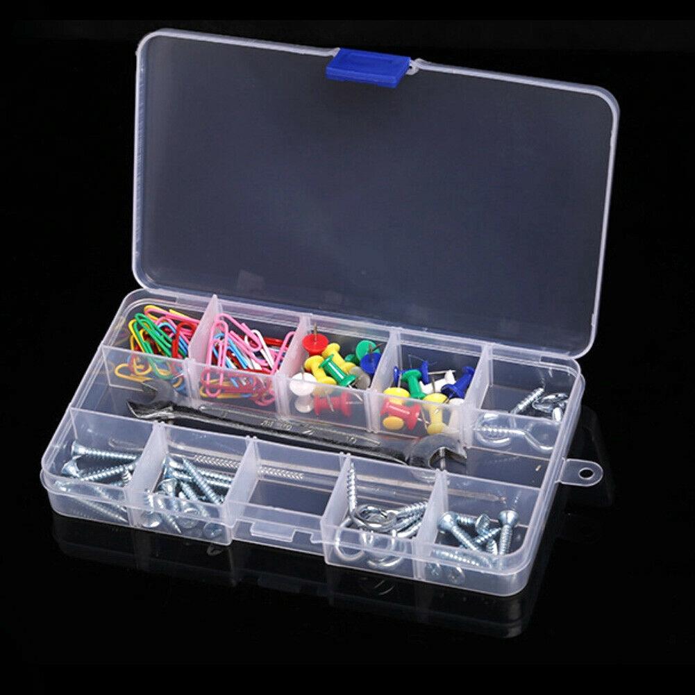 15 Slot Adjustable Plastic Fishing Lure Hook Tackle Box Storage Case Organizer